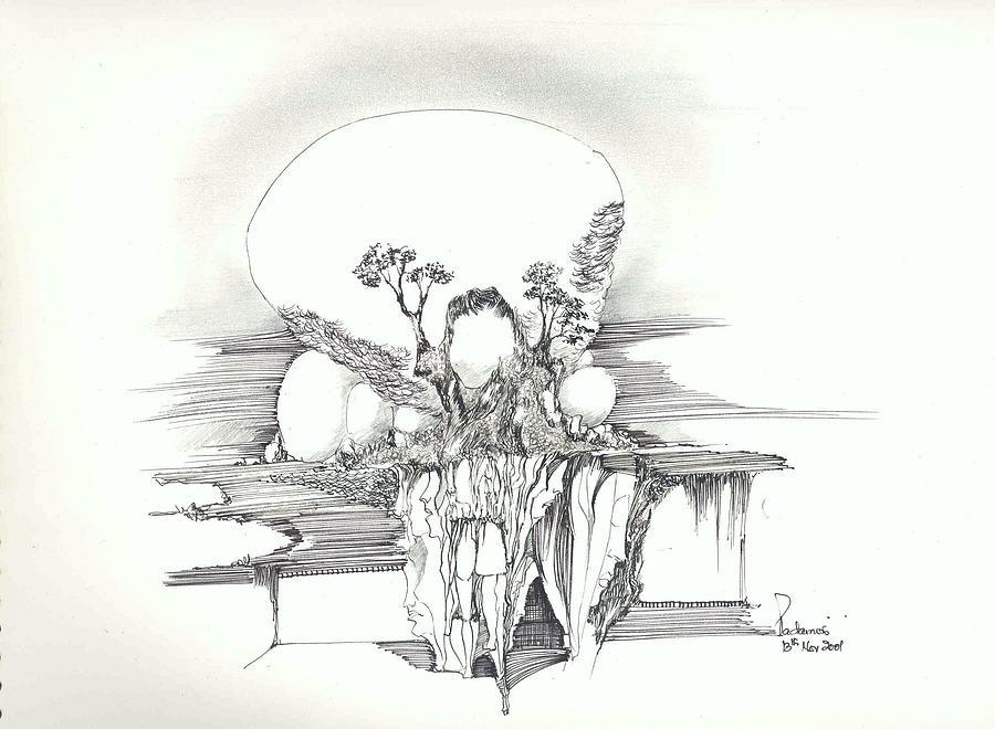 Rocks Trees Women And Faces Drawing by Padamvir Singh