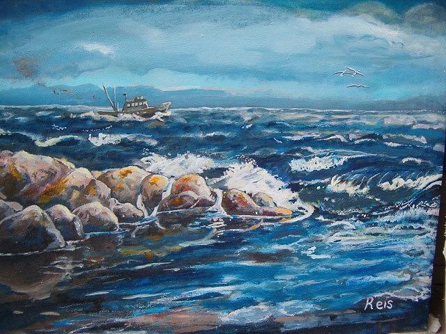 Sea Painting - Rocky 1 by Fahrettin  Oktay