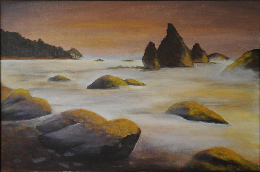 Seascape Painting - Rocky Beach by Annette Tan