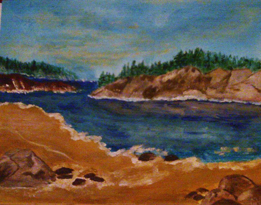 Rocky Beach Painting by Helen Vanterpool