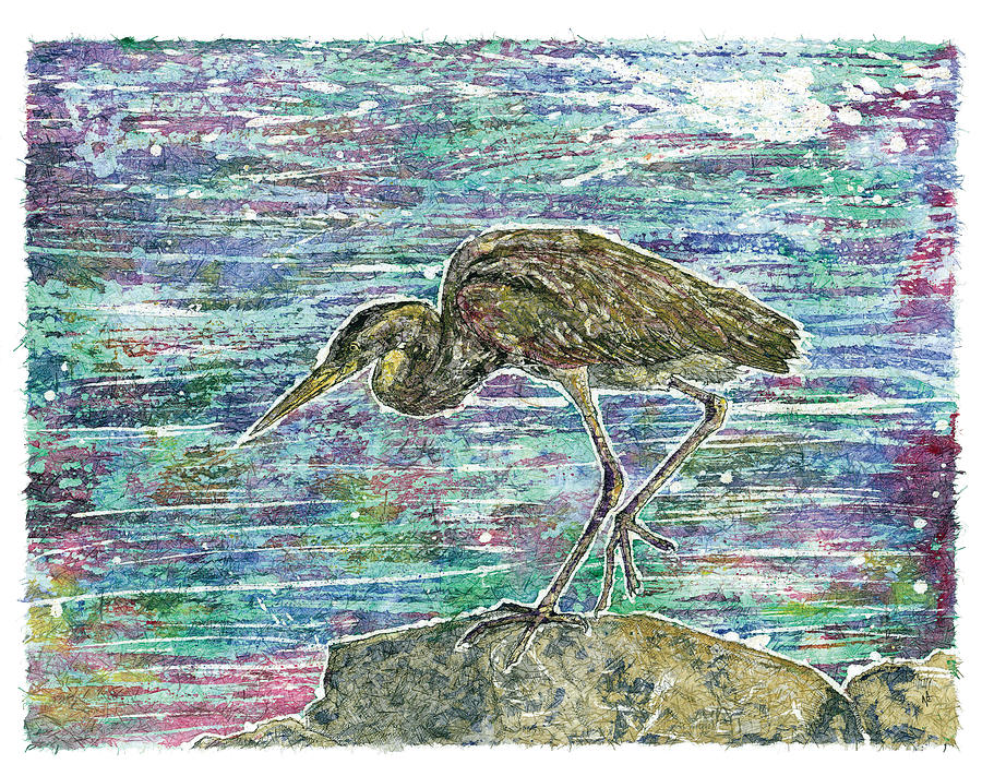 Great Blue Heron Painting - Rocky Blue by Nick Cantrell