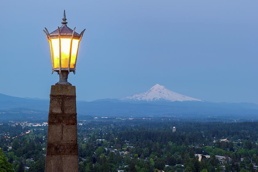 Rocky Butte Photograph - Rocky Butte Viewpoint With Mount Hood During Evening Blue Hour by David Gn