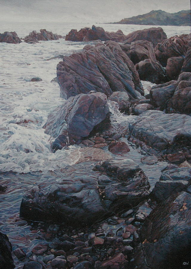 Seascape Painting - Rocky Cove At Coverack  by Paul Williams