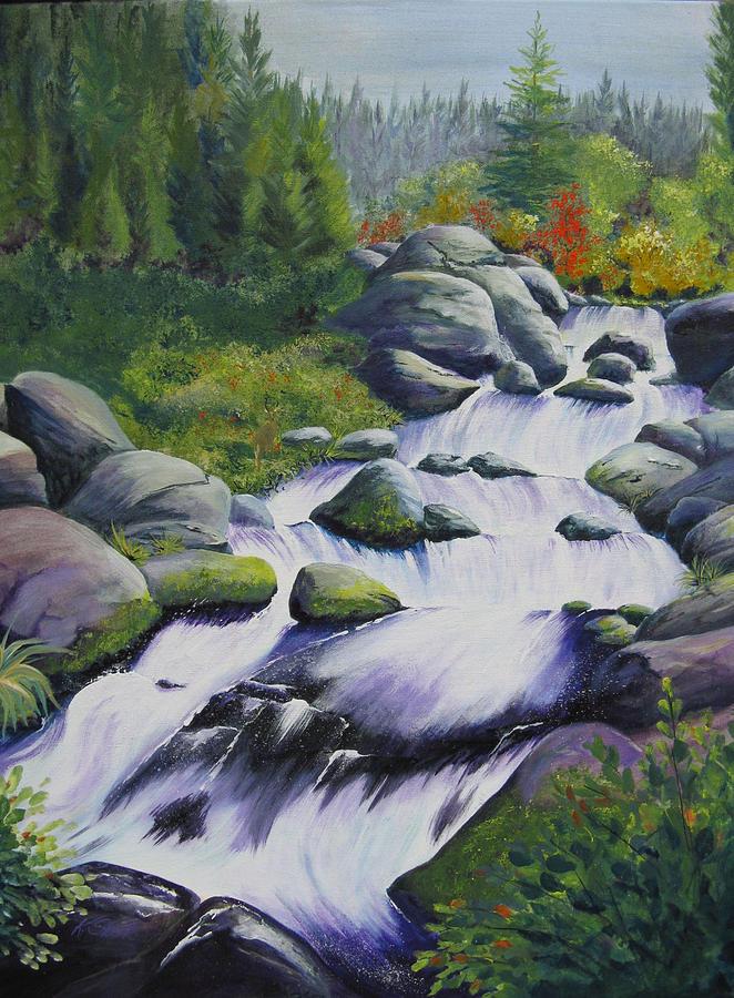 Waterfall Painting - Rocky Creek by Karen Stark
