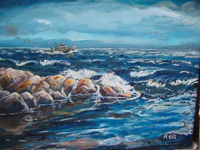 Boat Painting - Rocky by Fahrettin  Oktay