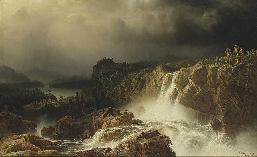 Marcus Larson Painting - Rocky Landscape With Waterfall by Marcus Larson