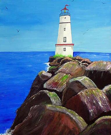 Lighthouse Painting - Rocky Lighthouse by Dia Spriggs