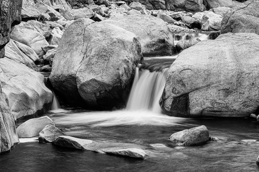 Black Photograph - Rocky Mountain Canyon Waterfall In Black And White by James BO  Insogna