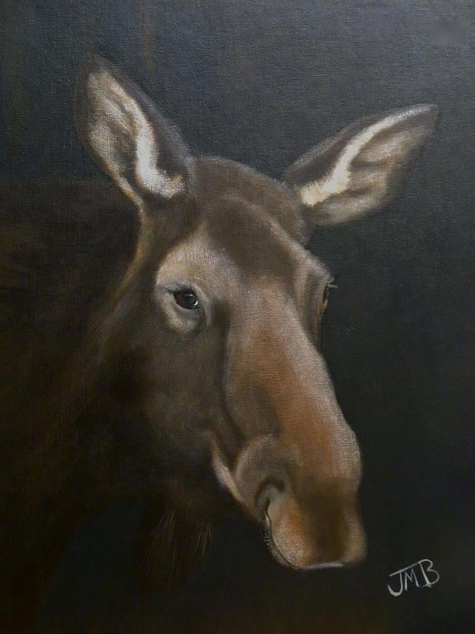 Moose Painting - Rocky Mountain House Moose by Janice M Booth