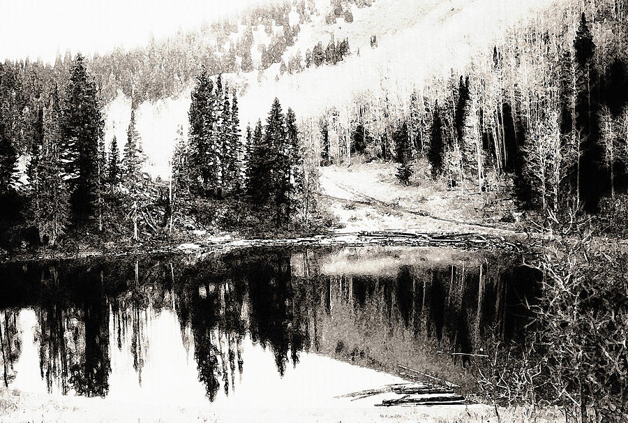 Rocky mountain lake black and white photograph by steve ohlsen