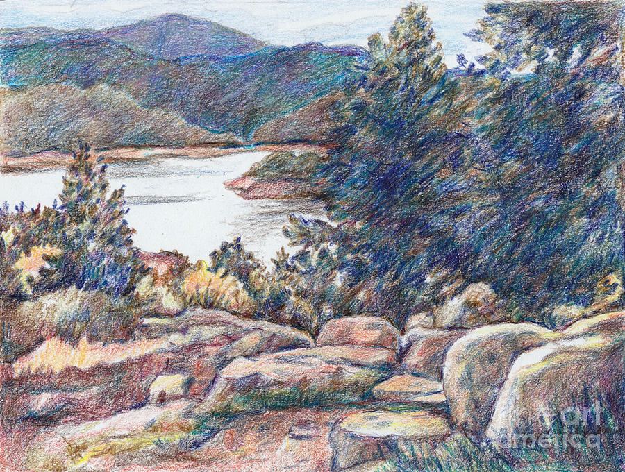 Rocky Mountain View Drawing By Carolyn Alston Thomas