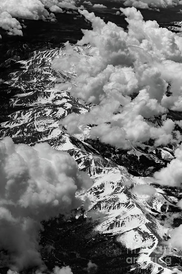 Rocky Mountains Photograph - Rocky Mountains In Colorado With Snow Aerial Black And White by David Oppenheimer