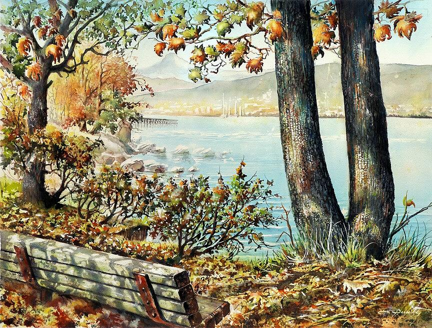 Landscape Painting - Rocky Point  Park View by Dumitru Barliga