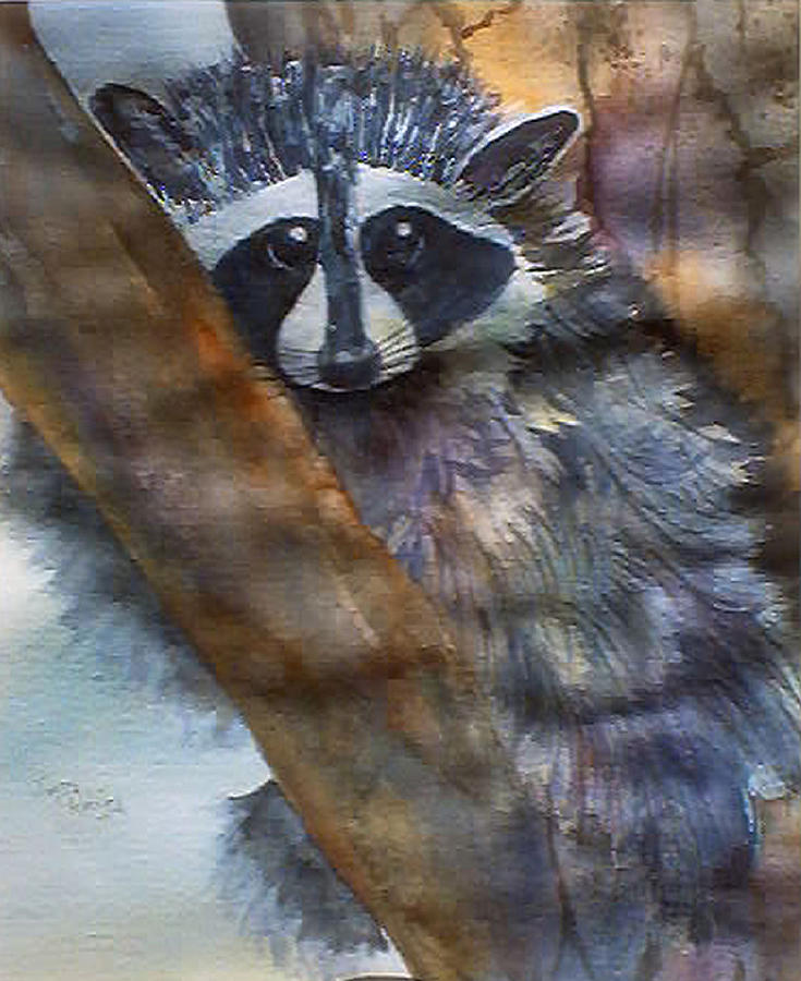 Animal Painting - Rocky Racoon by Jerry Kelley