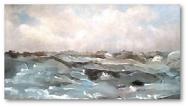 Rocky Seas Mixed Media by Brenda Garacci