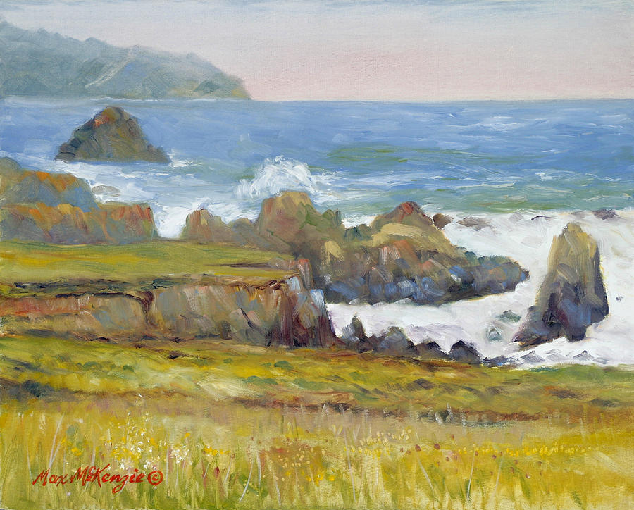 Water Painting - Rocky Shore Breakers by Max Mckenzie