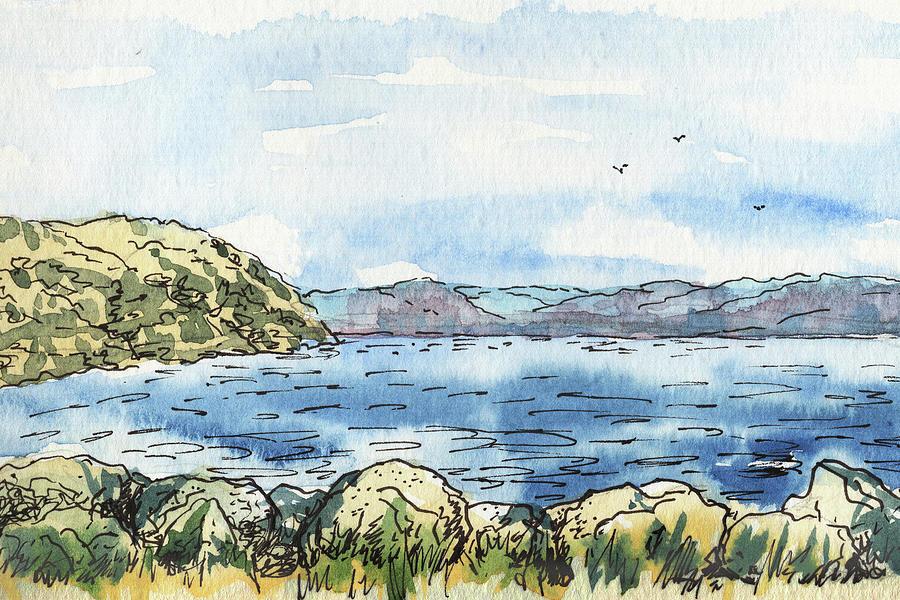 Seascape Painting - Rocky Shore Of The Bay by Irina Sztukowski