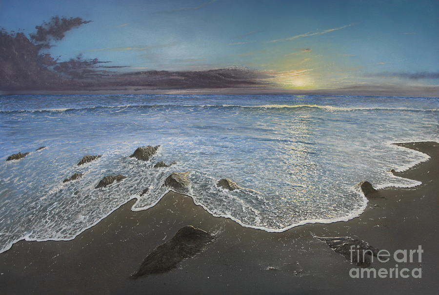 Seascape Painting - Rocky Shore by Paul Newcastle