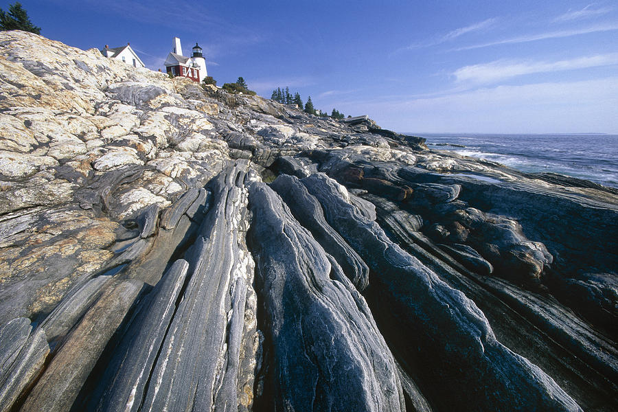 Atlantic Photograph - Rocky Shoreline With A Lighthouse Pemaquid Point Maine by George Oze