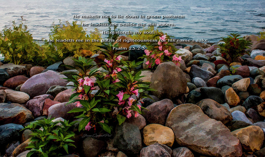 Rocky Shores of Lake St. Clair- Michigan Psalm 23 2-3 by Joann Copeland-Paul