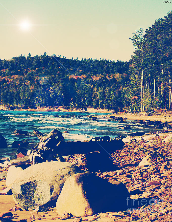 Photo Photograph - Rocky Shores Of Lake Superior by Phil Perkins