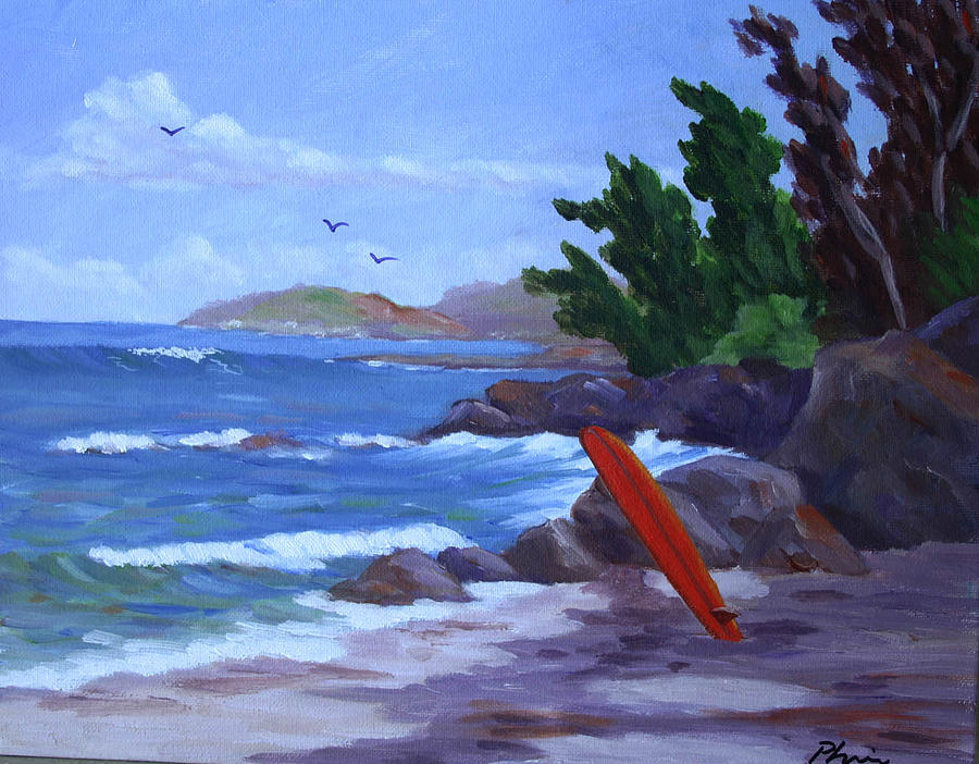 Surfing Painting - Rocky Surf by Bob Phillips