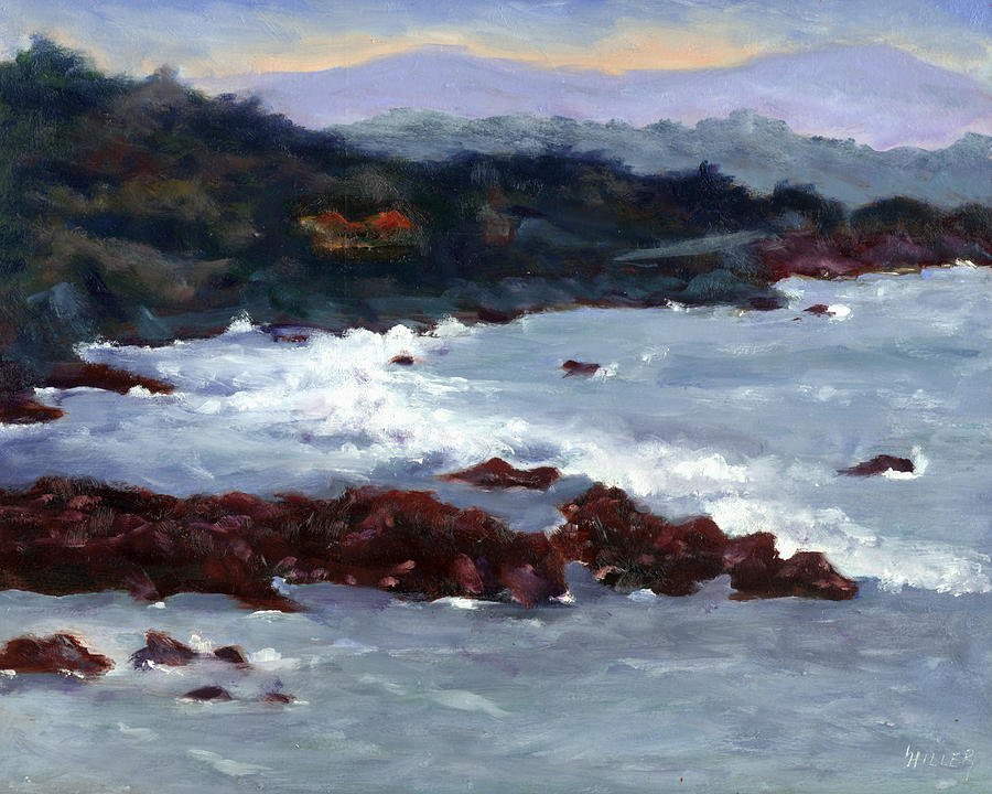 Ocean Painting - Rocky Surf by Linda Hiller