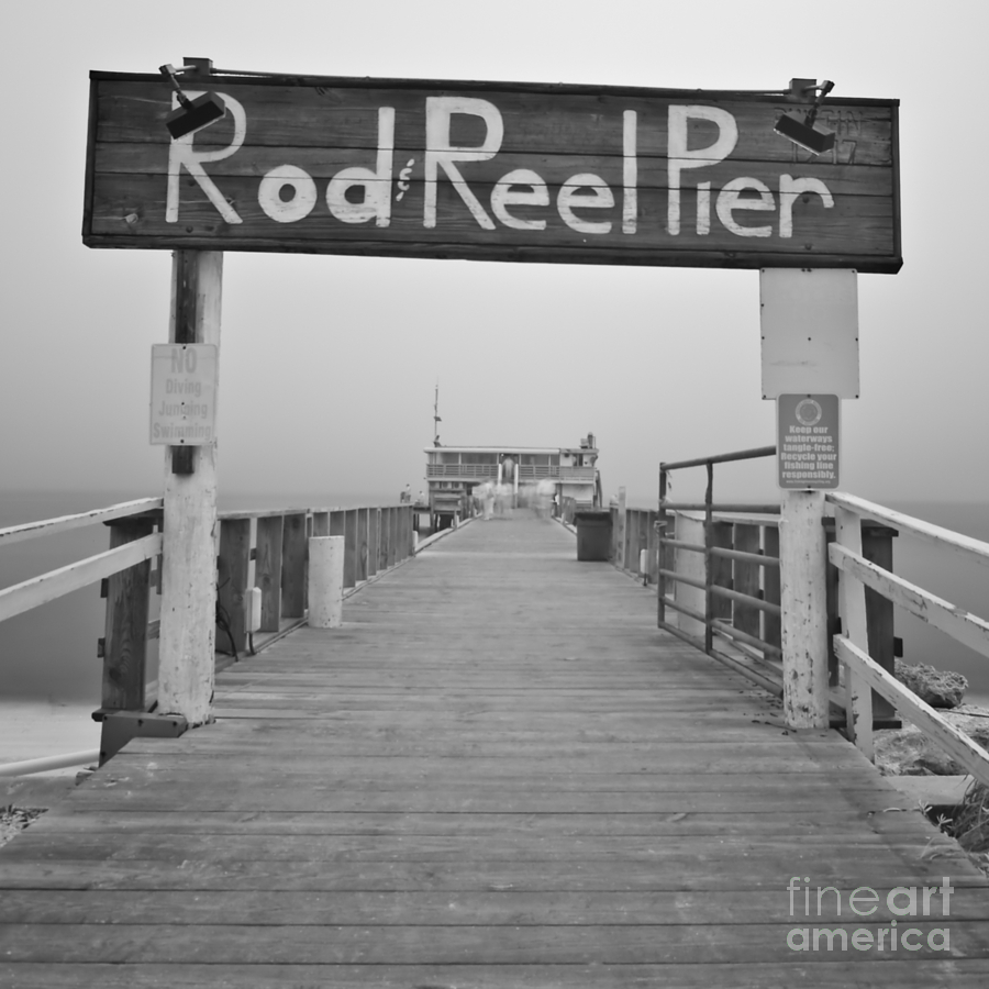 Rod And Reel Pier Photograph - Rod And Reel Pier In Fog In Infrared 53 by Rolf Bertram