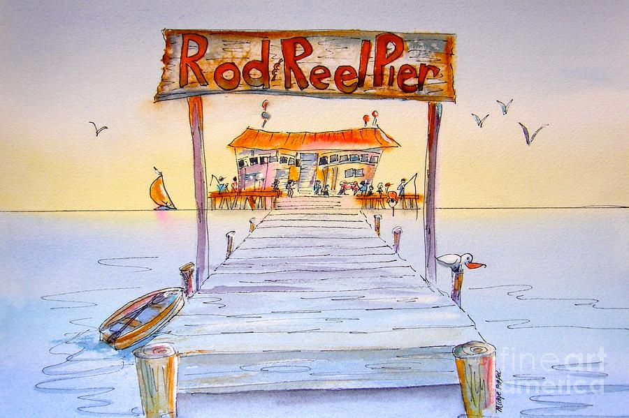 Calendar Painting - Rod And Reel Pier by Midge Pippel