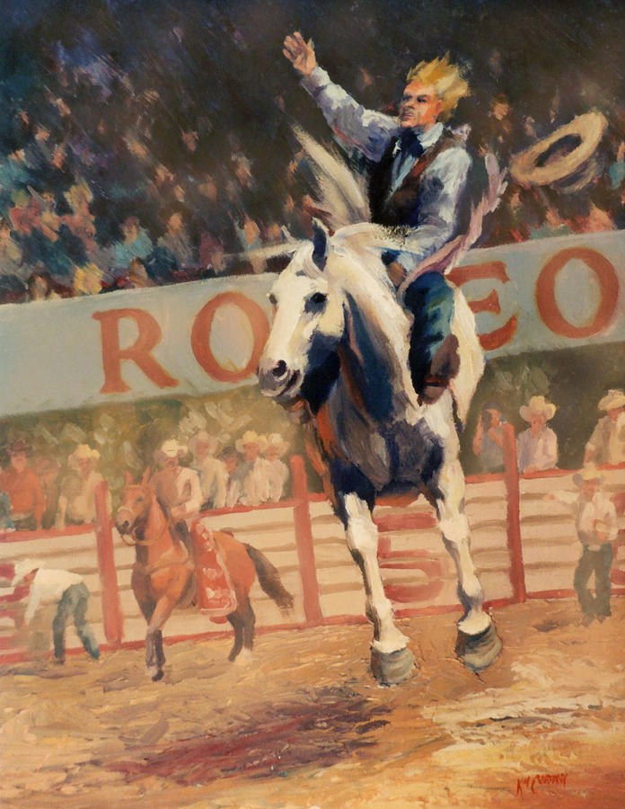 Cowboy Painting - Rodeo   Bareback Bronc Painting by Kim Corpany