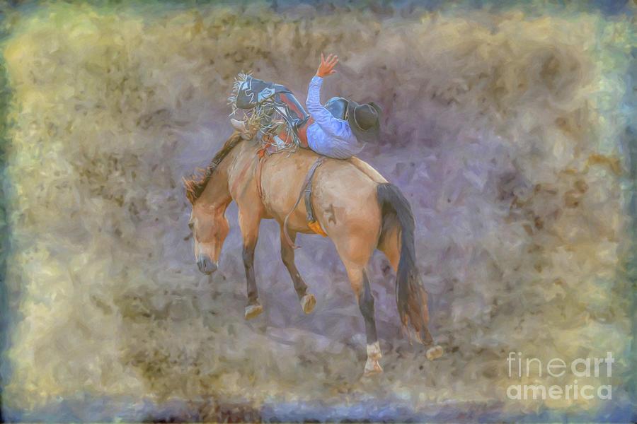 Bucking Bronco Digital Art - Rodeo Bronco Busting by Randy Steele