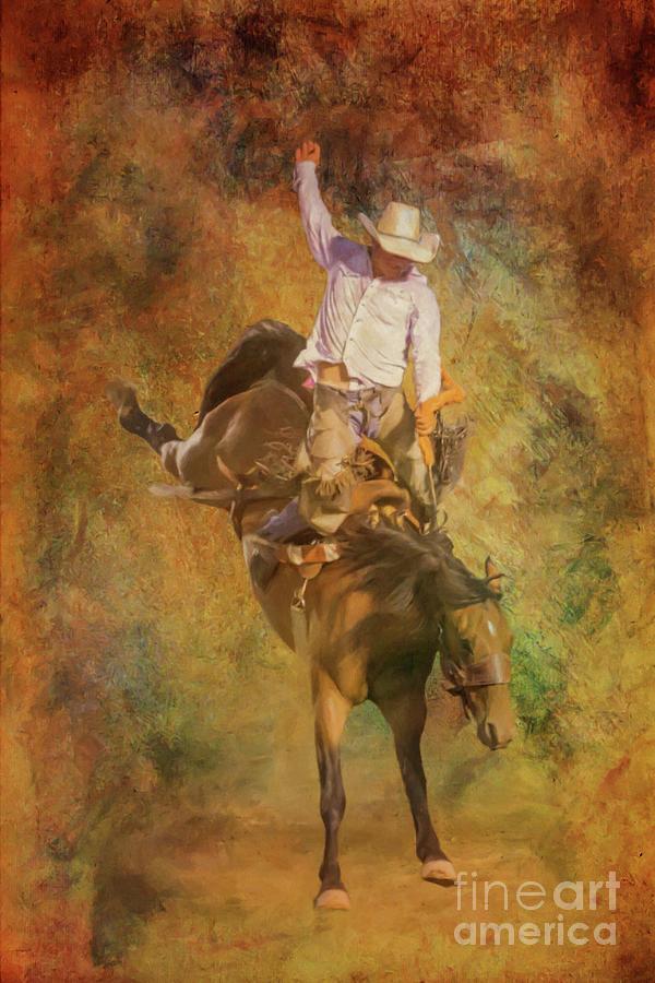 Bull Riding Digital Art - Rodeo Bronco Riding Three by Randy Steele