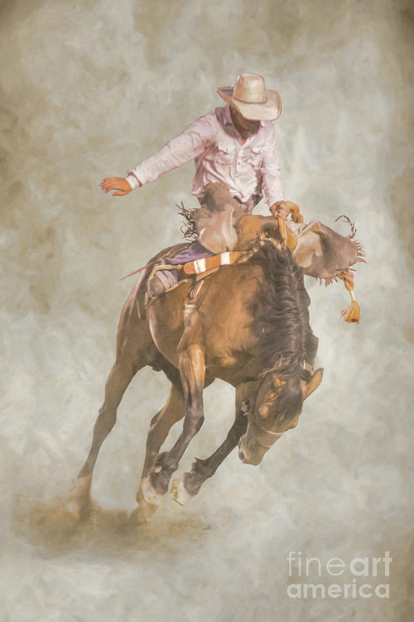 Bull Riding Digital Art - Rodeo Bronco Riding Two by Randy Steele