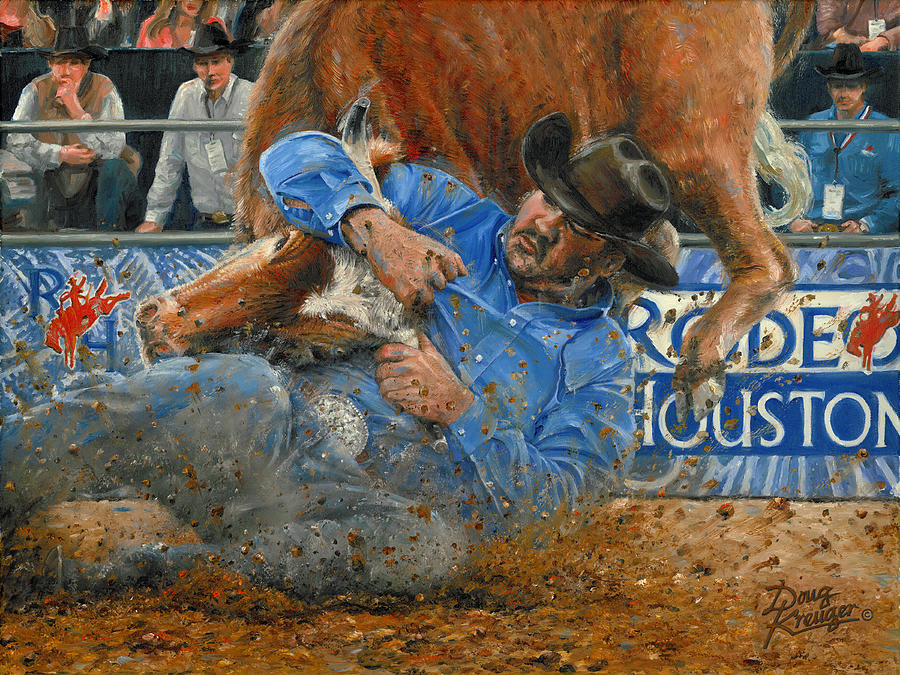 Rodeo Houston --Steer Wrestling by Doug Kreuger