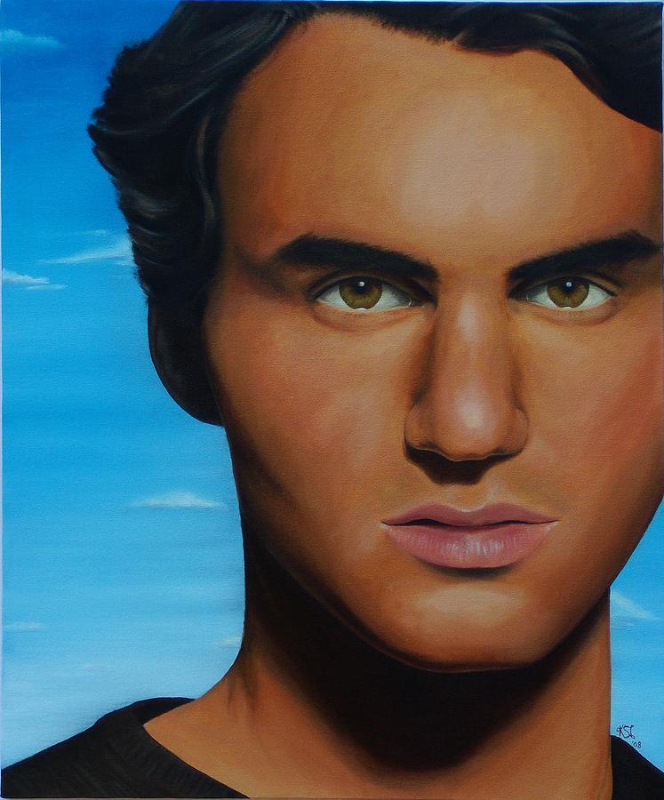 Portrait Painting - Roger Federer by Kim Nelson