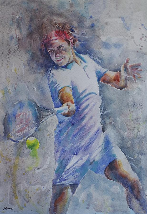 Roger Federer - Portrait 8 Painting by Baris Kibar