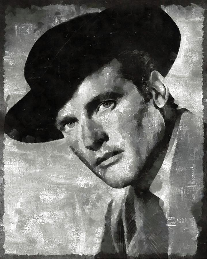 Hollywood Painting - Roger Moore Hollywood Actor by Mary Bassett