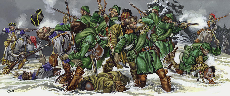 History Painting - Rogers Rangers Fought A Hand-to-hand Battle In The Snow With The French And Indians by Ron Embleton