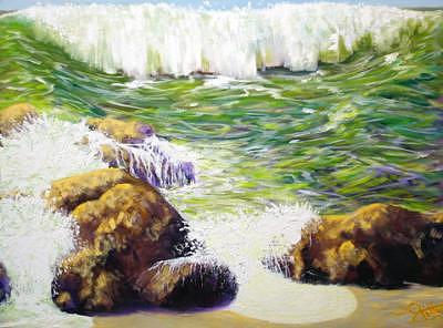 Rogue Wave Painting by Bill Gittins