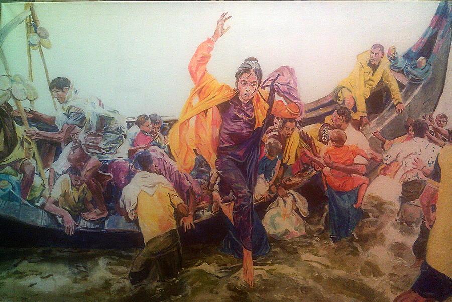 Rohingya Painting - Rohingya Flee Myanmar by Rosanne Gartner