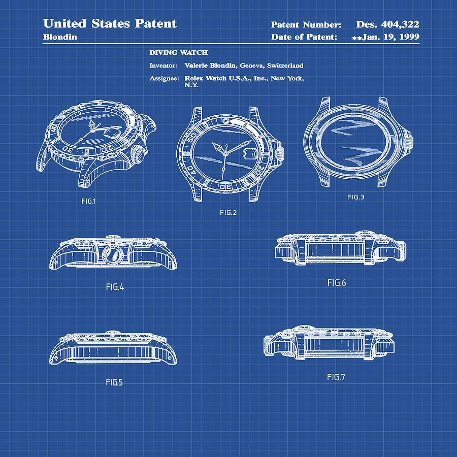 Rolex Watch Patent 1999 In Blueprint Digital Art By Bill