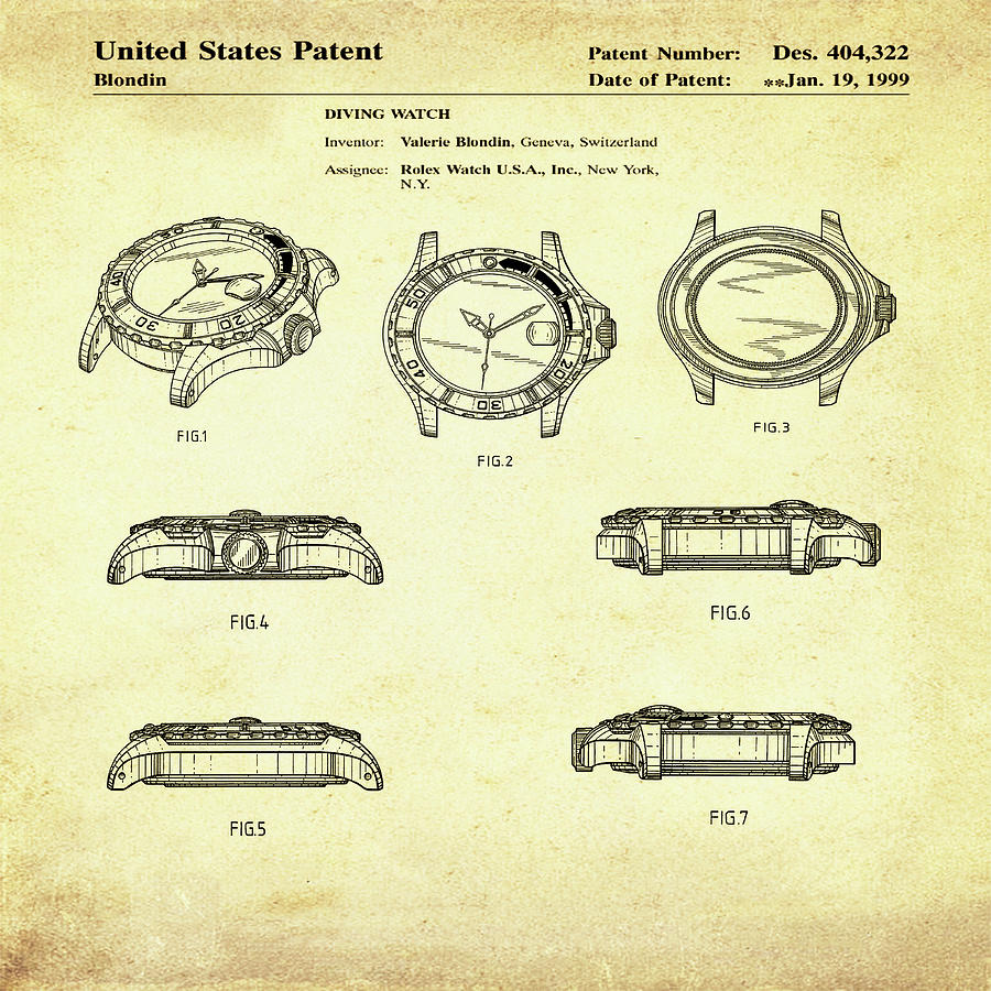Rolex Watch Patent 1999 In Sepia Digital Art by Bill Cannon