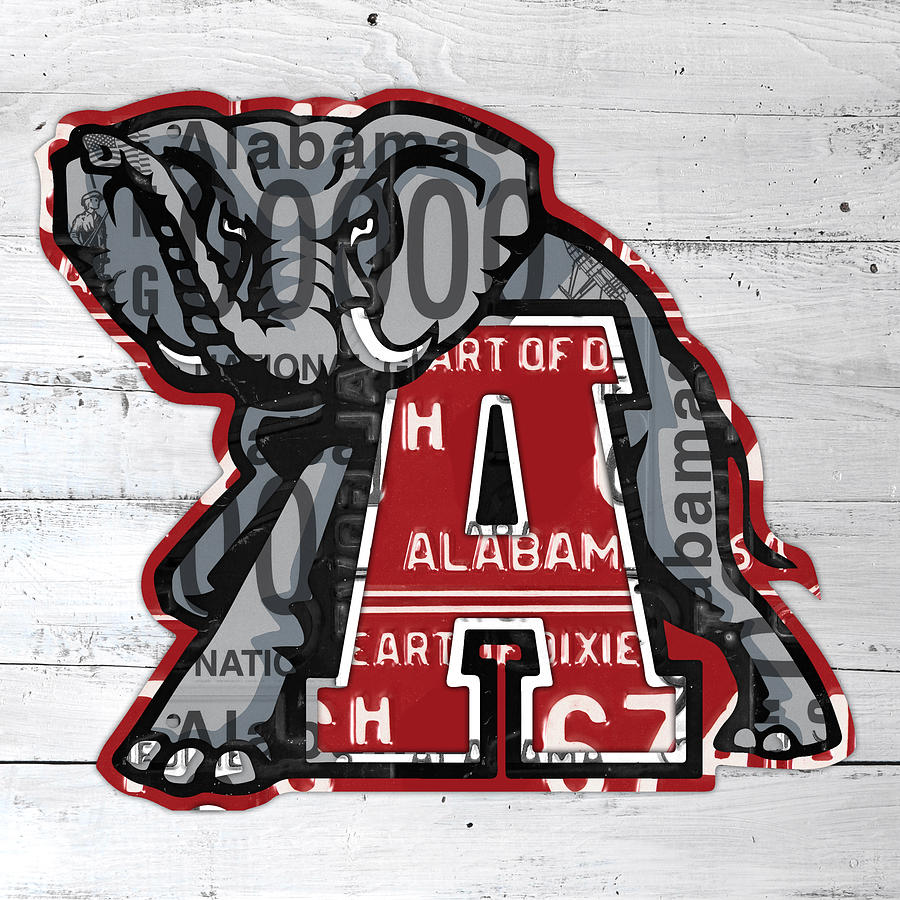 Roll Tide Mixed Media - Roll Tide Alabama Crimson Tide Recycled State License Plate Art by Design Turnpike