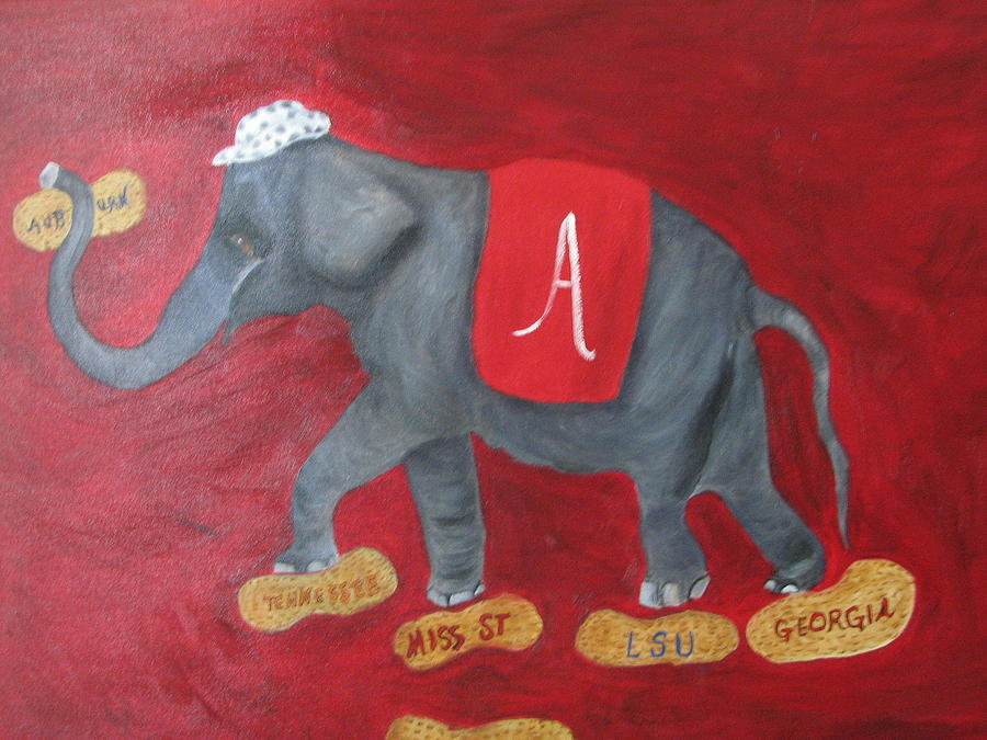 Elephant Painting - Roll Tide by Brenda Luczynski