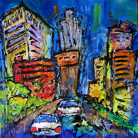 Cityscape Painting - Roll With It by Jean Mason