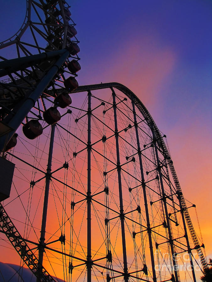 Amusement Park Photograph - Roller Coaster At Sunset by Eena Bo