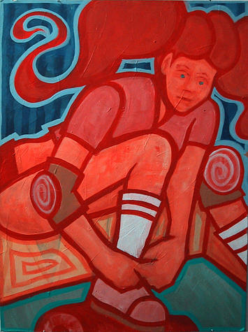 Woman Painting - Roller Girl by Jeff Troldahl