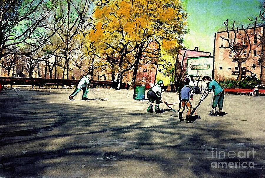 Children Photograph - Roller Hockey In Bennett Park by Sarah Loft