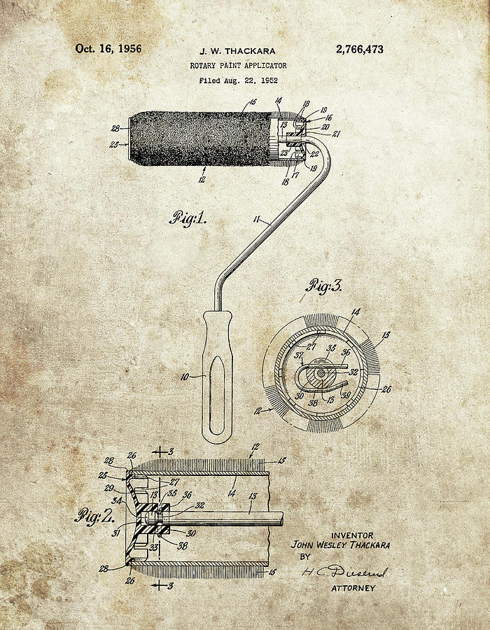 Roller Mixed Media - Roller Paintbrush Patent by Dan Sproul