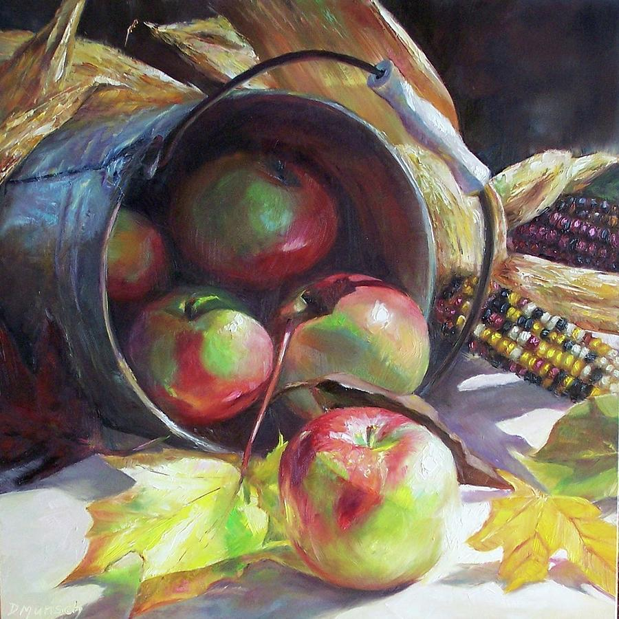 Pain Painting - Rolling Apples by Donna Munsch